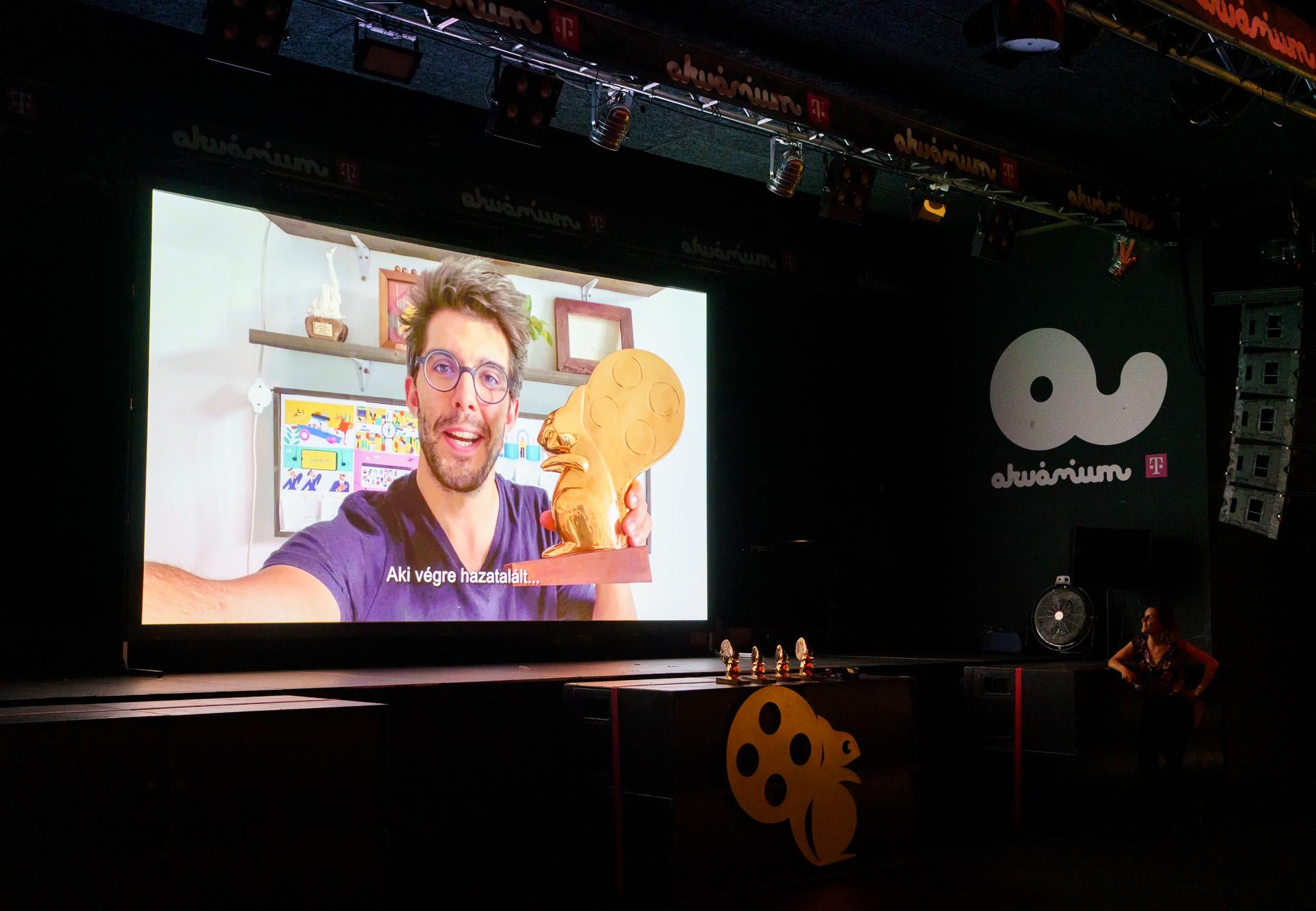 Martin Smatana, a Legjobb Animációs Kisfilm díjának nyertese a 3. CINEMIRA díjátadóján. Fotó: Posztós János