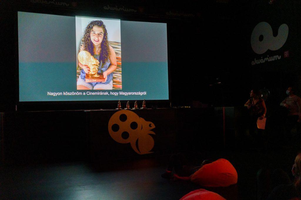Ruchama Ehrenhalt, a Legjobb Élőszereplős Kisfilm díjának nyertese a 3. CINEMIRA díjátadóján. Fotó: Posztós János