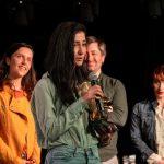Jurdi Leila, a 2. CINEMIRA Nemzetközi Gyerekfilm Fesztivál nyertese, Lakos Nóra fesztiváligazgató, Erik Tijman és Kerekes Vica zsűritagok. Fotó: Varga Gábor Vargosz